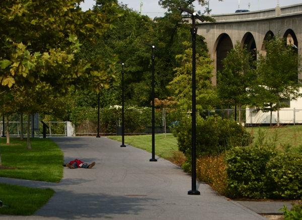 Sleeping man, Georgetown waterfront park