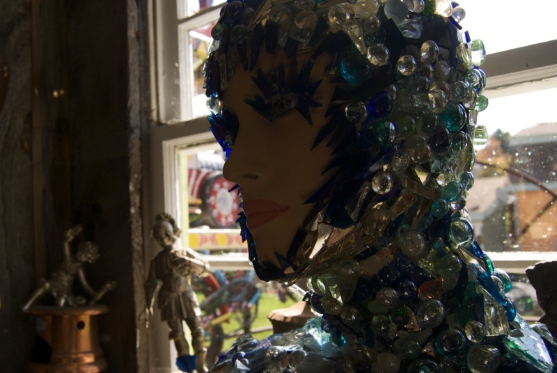 Mannequin transformed with bits of glass