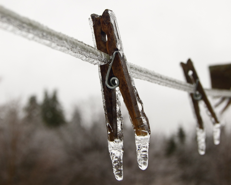 Clothespins in ice