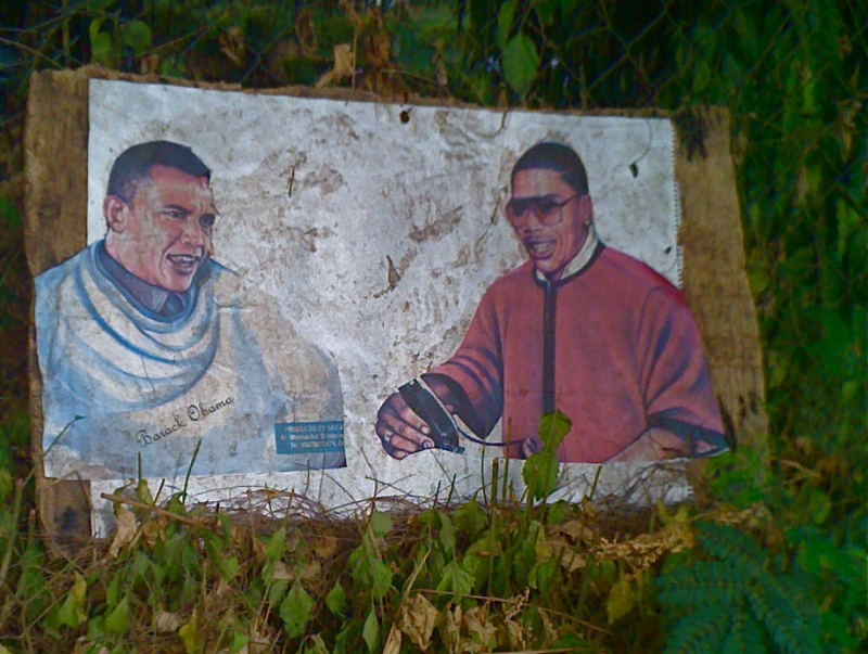 Sign for a street-side barber in Abuja, Nigeria