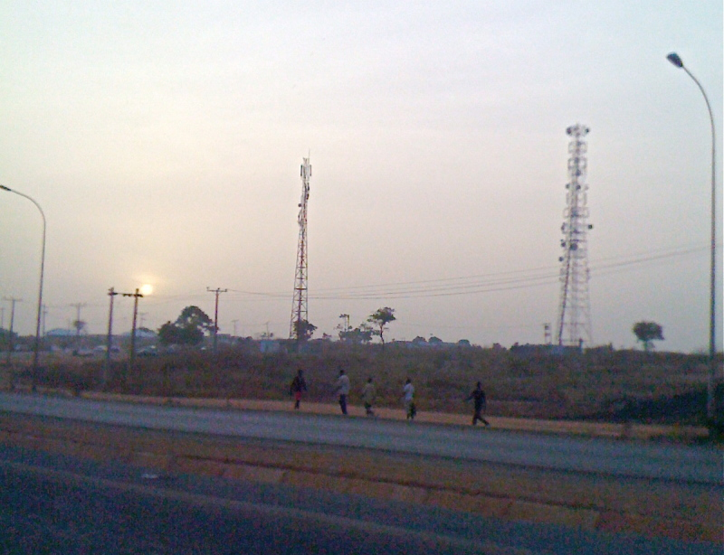 Walking to work, early morning, outside Abuja