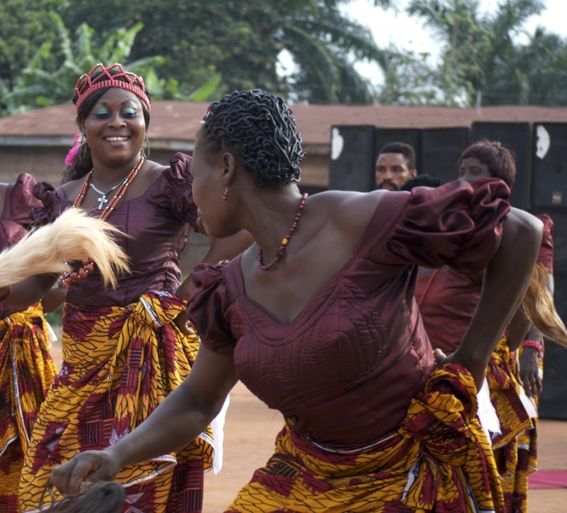 Dancers at a traditional wedding, Nigeria