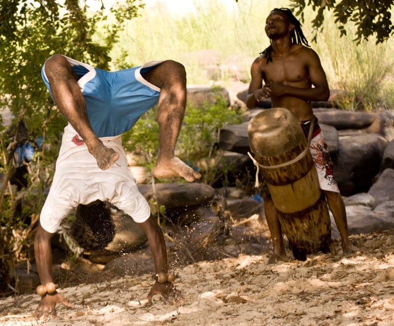 Musicians on the beach, Congo River, Brazzaville