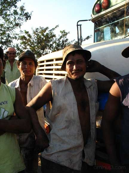 Cane cutters with broken down bus, Nicaragua