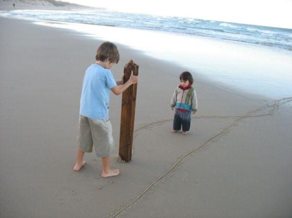Dusk at Marcus Beach: Angus and Hugh