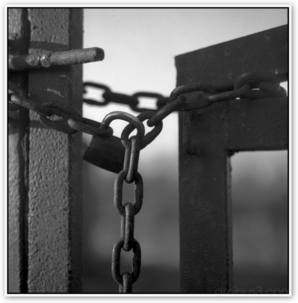 All is locked, citiscape black and white photo