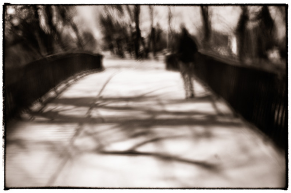 walking on the bridge in warsaw