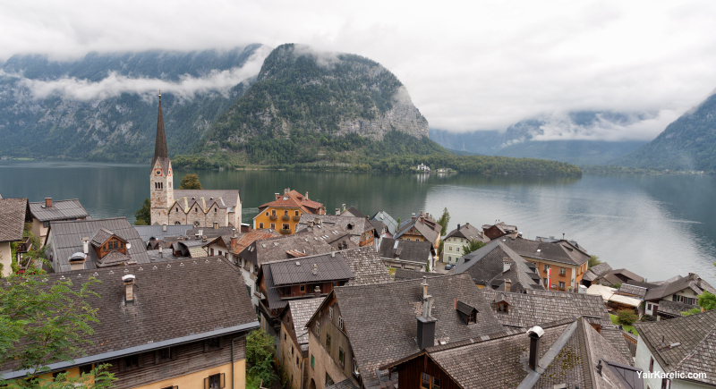 Evangelical Church and rooftops of Hallstatt