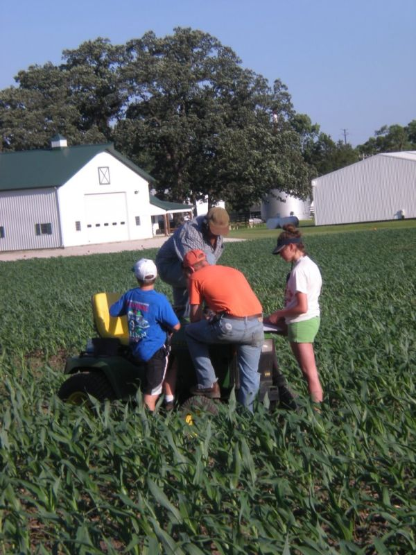 Working on the Corn Maze