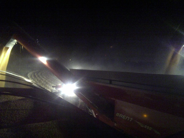 corn harvest at night