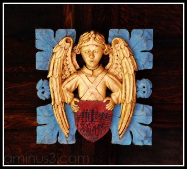 Angel insignia in Durham Cathedral cloisters