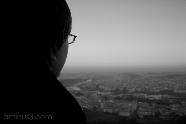 Black and white view of Prague from Petrin Tower.