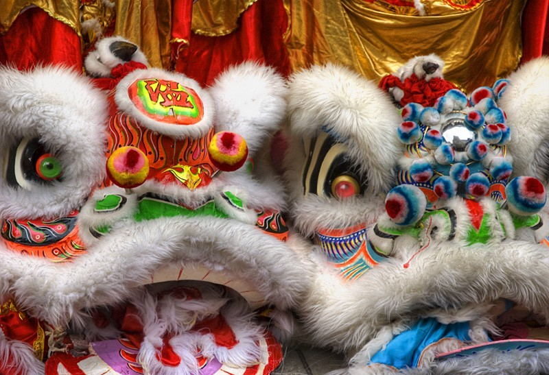 Chinese lion dancing puppets from Chinese New Year
