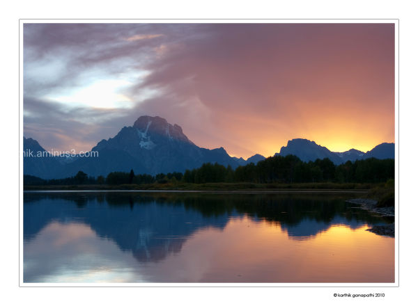 Snake river, Oxbow Bend, Mount Moran, Sunset