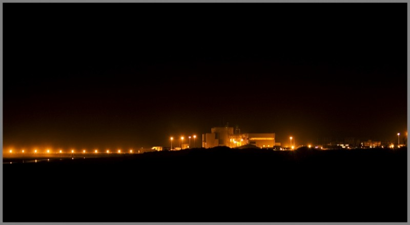 nuclear power station night lights
