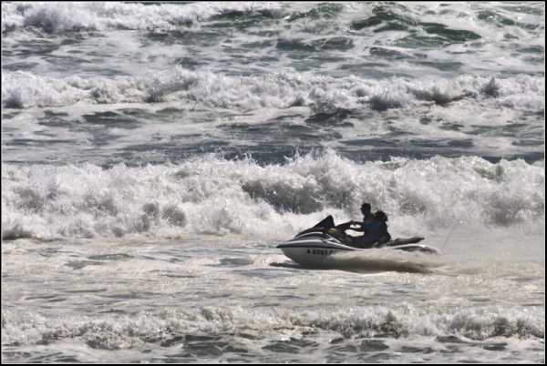 Speedboat in stormy sea