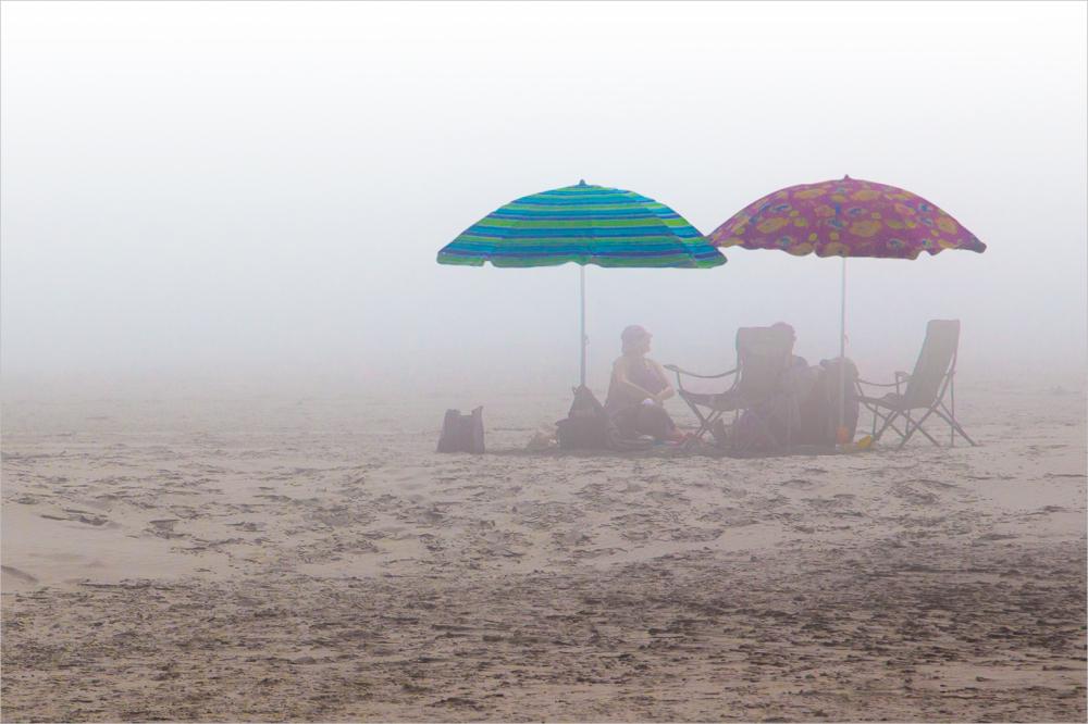 Umbrellas in the mist