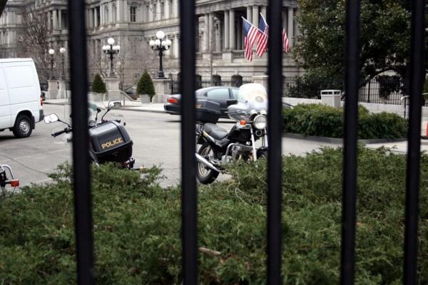 Police bikes inside White House gates