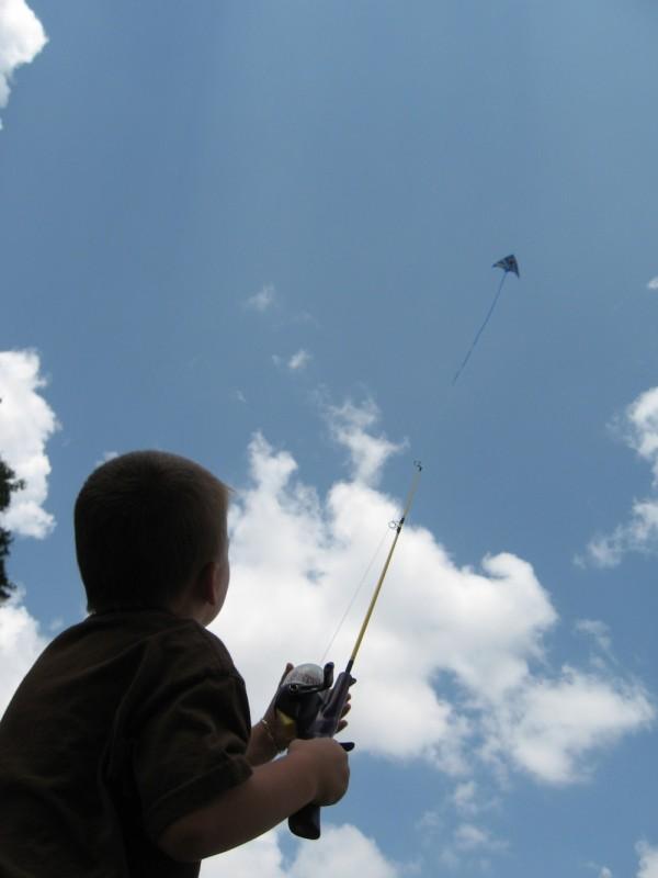 Kai flying a kite