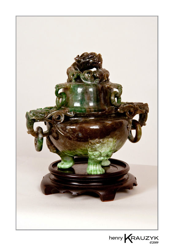 Antique Chinese Jade Incense Holder by H. Krauzyk