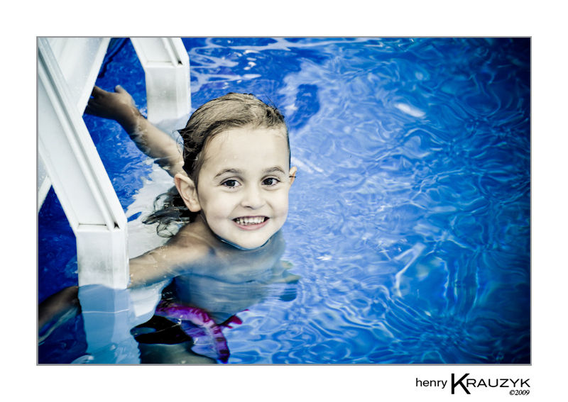Little girl in pool by H. Krauzyk