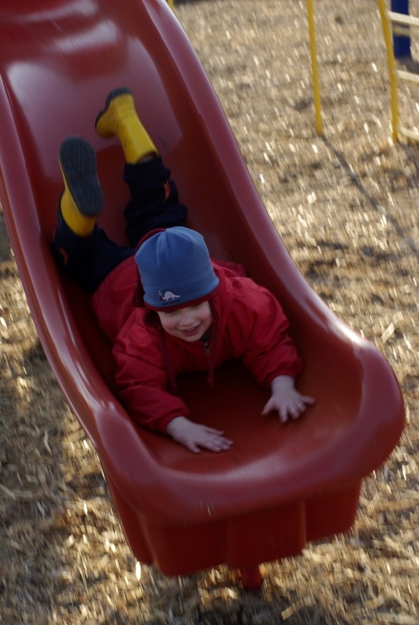 Going down a slide