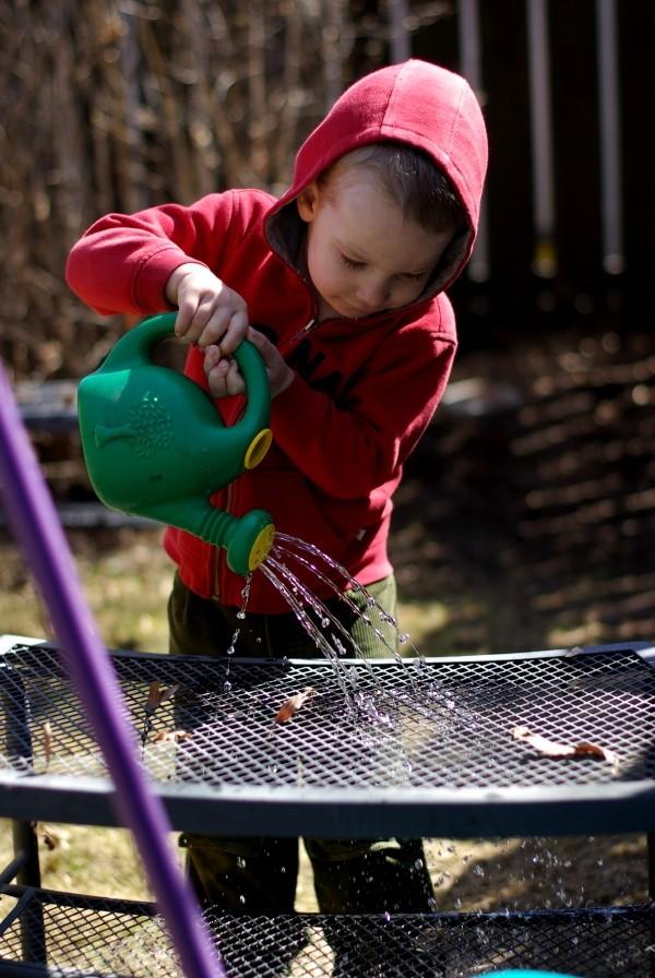 Luke watering