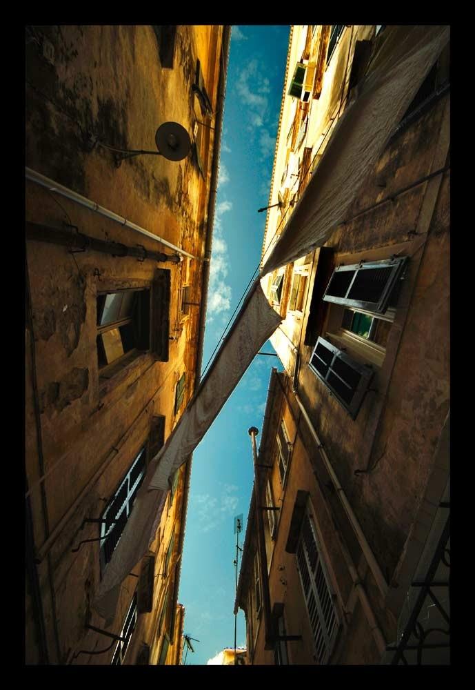 Corfu city sky