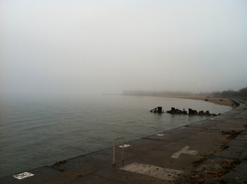 Chicago lakeshore Lake Michigan fog