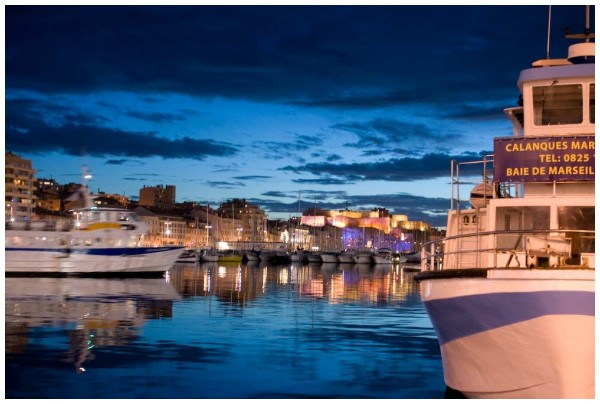 Vieux-Port in Marseille by night