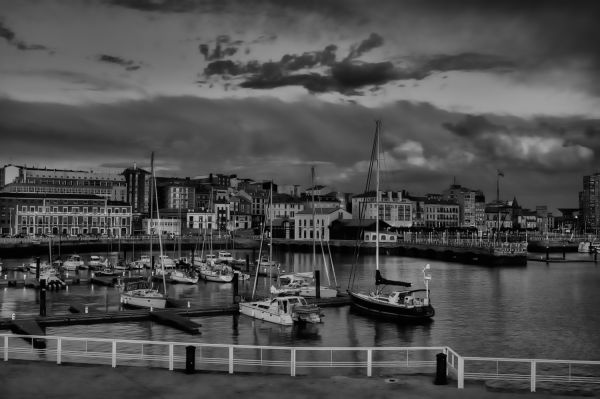 Port of Gijon in B&W 2