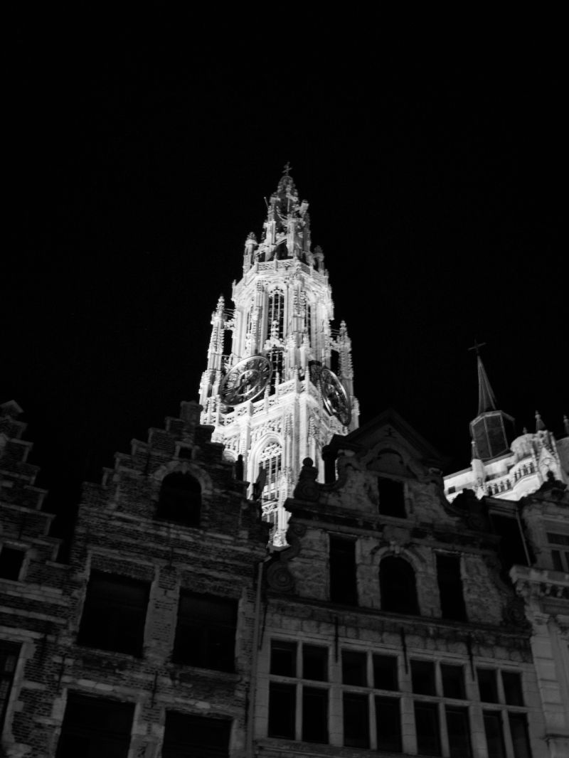 Antwerp cathedral by night