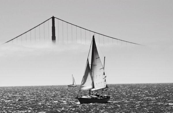 Fog covered Golden Gate Bridge