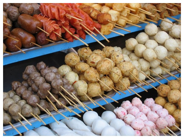 Thai street vendor's food on a stick
