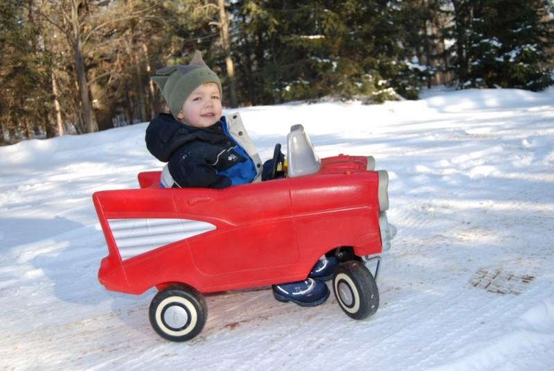 Armin riding his car