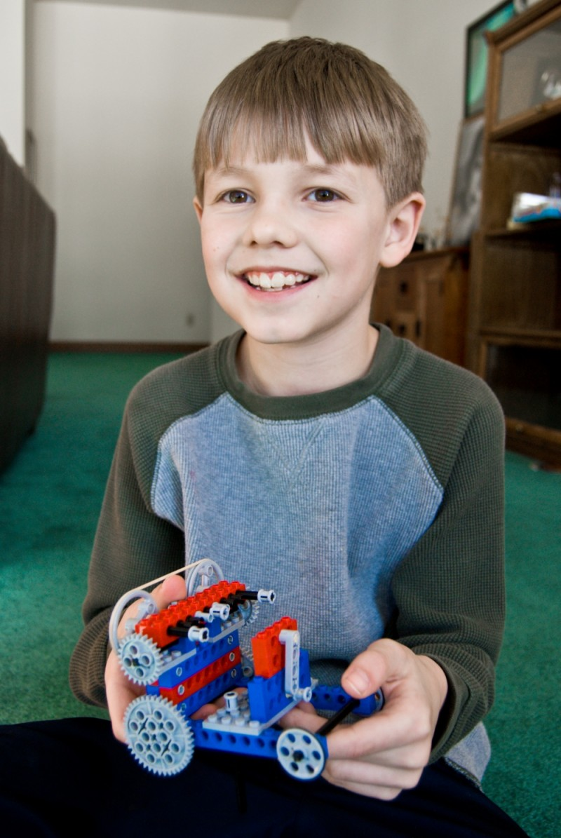 Ethan with lego creation