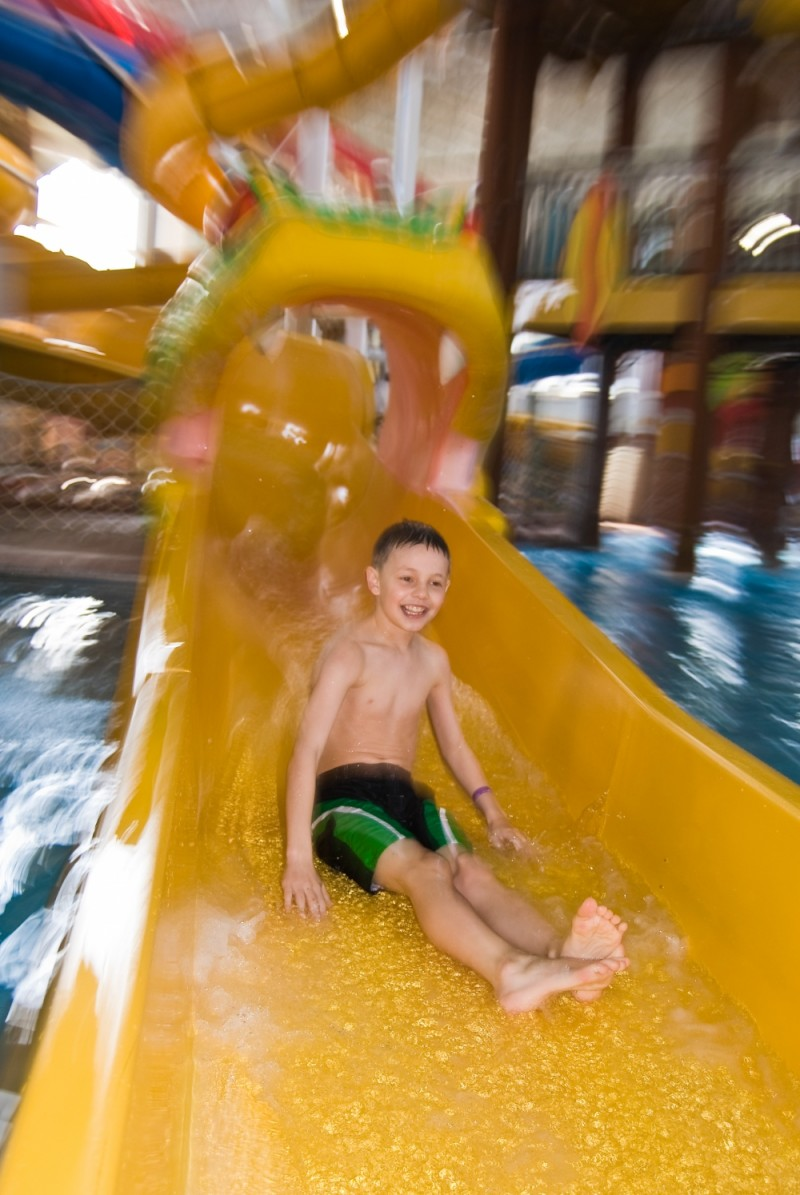 Ethan down the snake waterslide