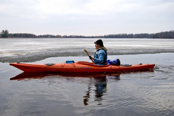 Jodi kayaking along the ice