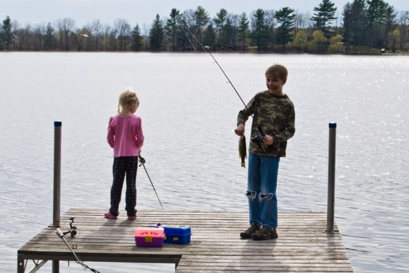 Ethan and Tirzah fishing