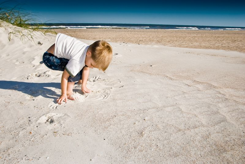 Armin playing in the sand in Florida