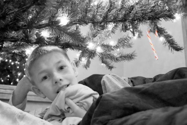 Ethan sleeping under the Christmas Tree