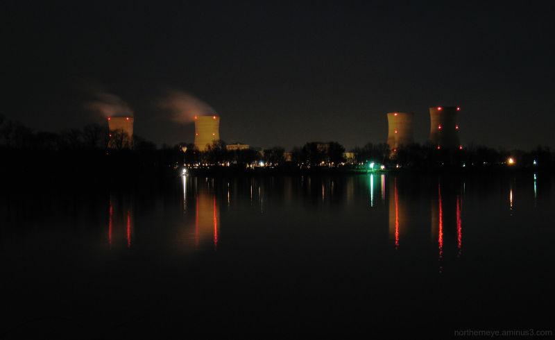 Three Mile Island at night