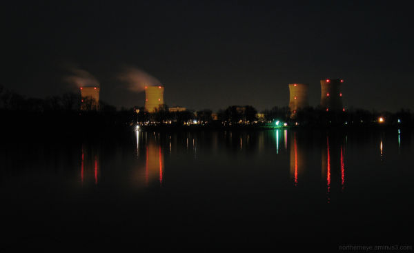Three Mile Island at night