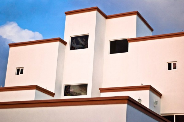 Architectural abstract at dusk in Mexico