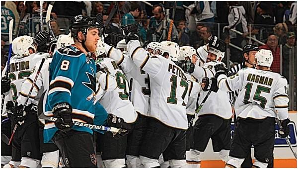 Dallas clelbrates as Sharks' Je Pavelski exits ice