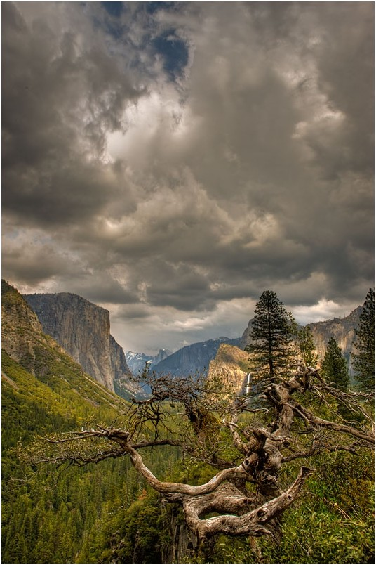 Storm clouds form over Yosemite Valley