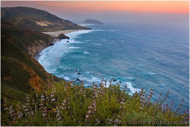 The warm hues of dawn along the Big Sur Coast.