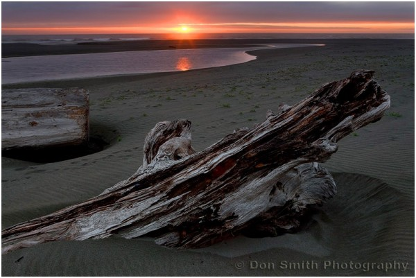 Sunset at Gold Bluffs Beach, California