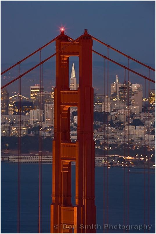 Transamerica Building through Golden Gate