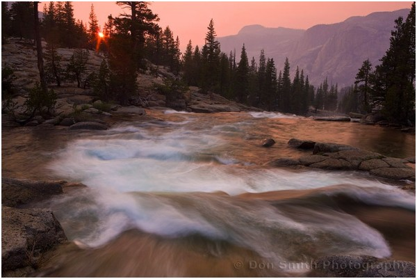 Sunset set over the Tuolumne River, Yosemite.
